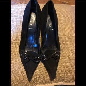 Prada suede kitty heel pumps